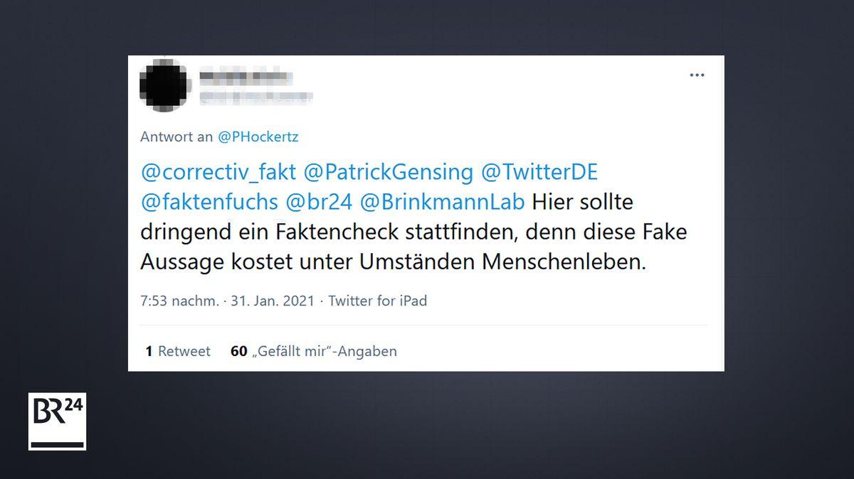 Neben vielen Likes und Retweets erntet Hockertz auf Twitter auch viel Kritik - wie diese.