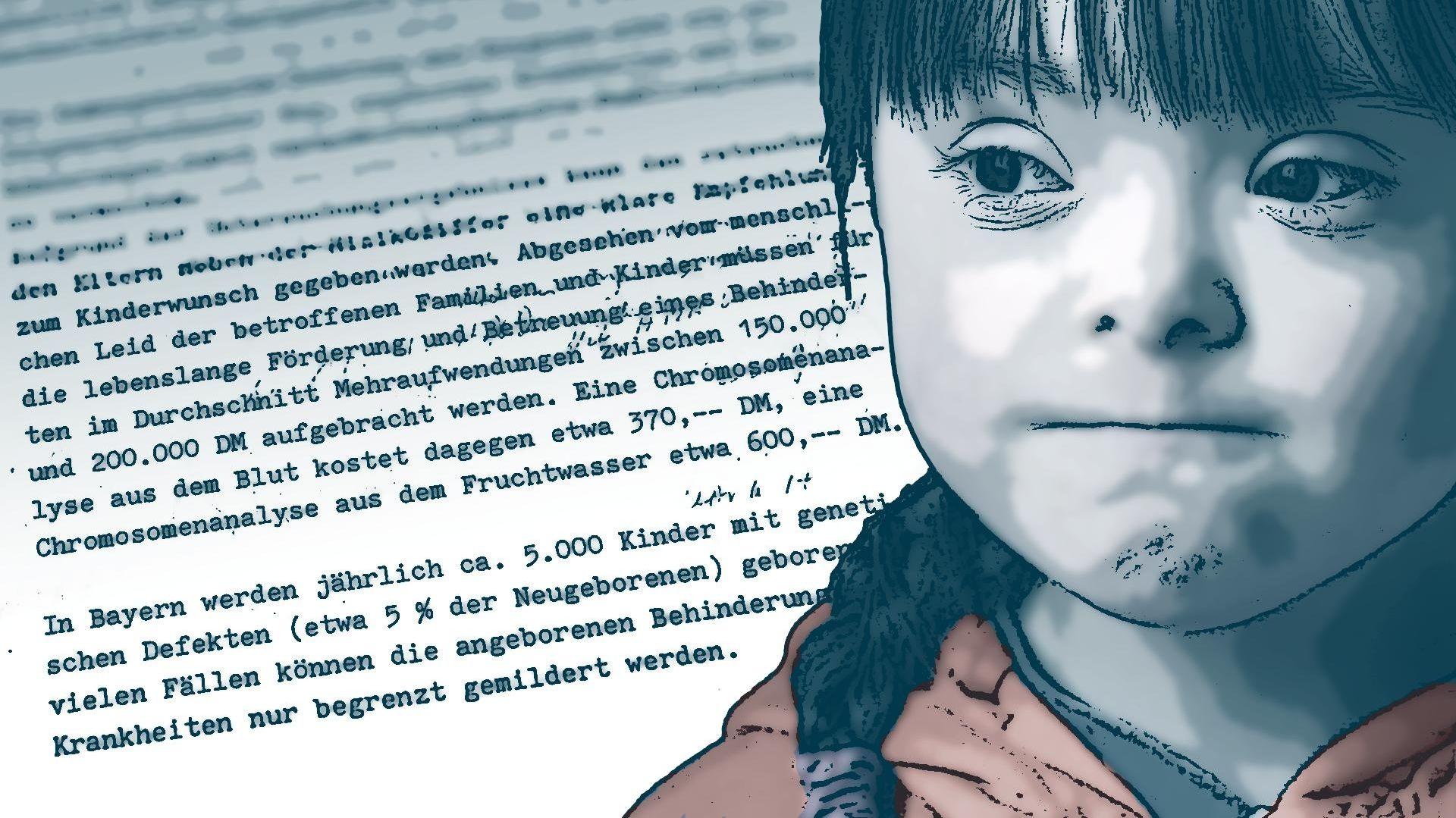 Symbolbild: Mädchen mit Trisomie 21 vor getipptem Text zum Kosten-Nutzen-Faktor