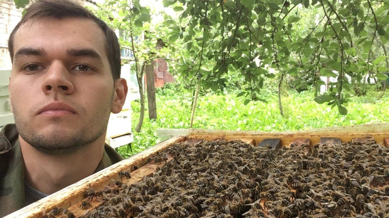 Hobby-Imker Michail Alexandrow steht neben einem Bienenstock. Imker in Russland beklagen dieses Jahr ein massenhaftes Bienensterben.