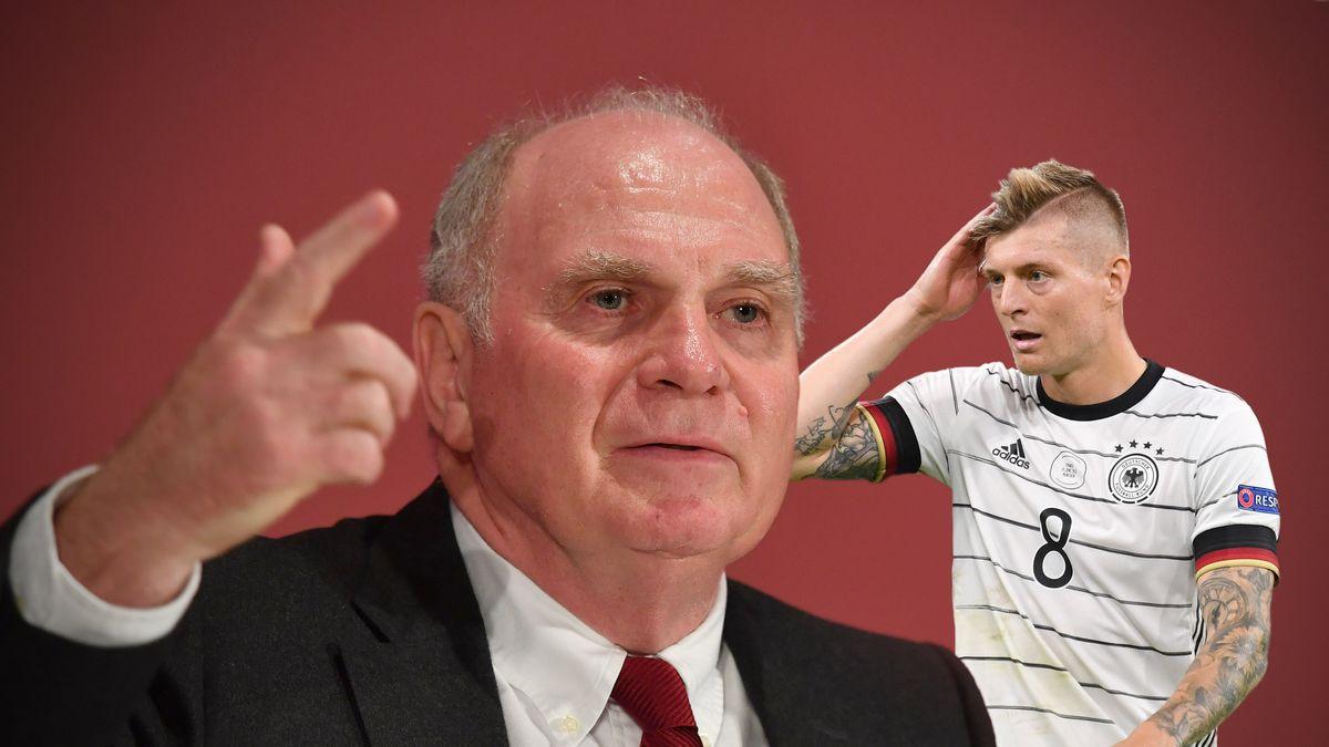 Fotomontage: Uli Hoeness rechnet mit der deutschen Nationalmannschaft ab. Besonders heftig kritisiert der Ehrenpraesident des FC Bayern den zurueckgetretenen Toni Kroos.