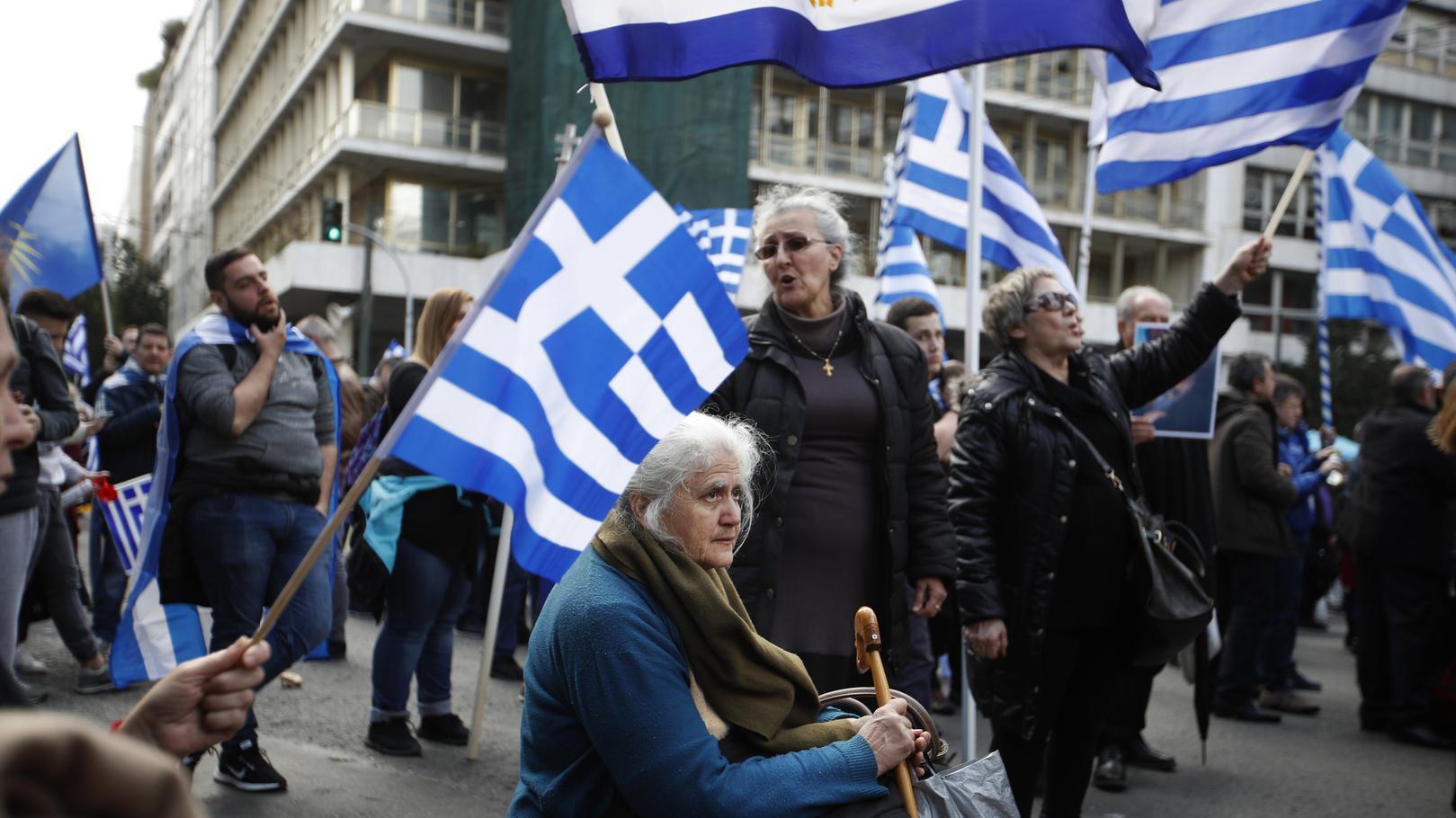 Demonstration gegen den Vertrag zur Namensänderung von Mazedonien in Nord-Mazedonien