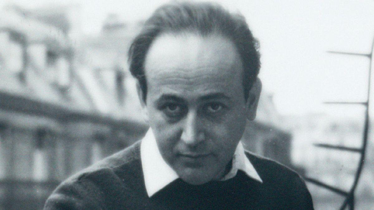 """Schwarz-weiß Portrait von Paul Celan (Ausschnitt aus dem Buchcover von """"Mit den Augen von Zeitgenossen"""")"""