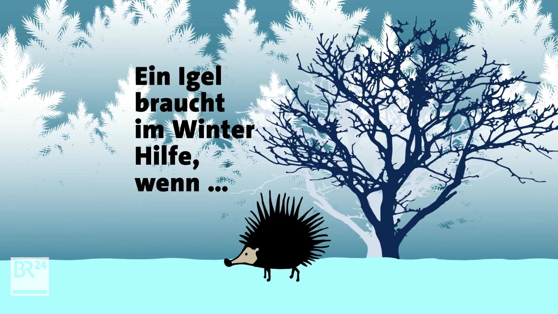 Grafik Igel im Winter