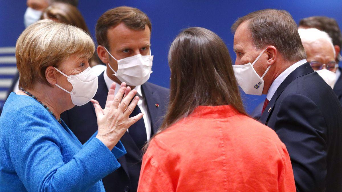 Kanzlerin Merkel im Gespräch mit Emmanuel Macron und den Regierungsvertretungen aus Finnland und Schweden.