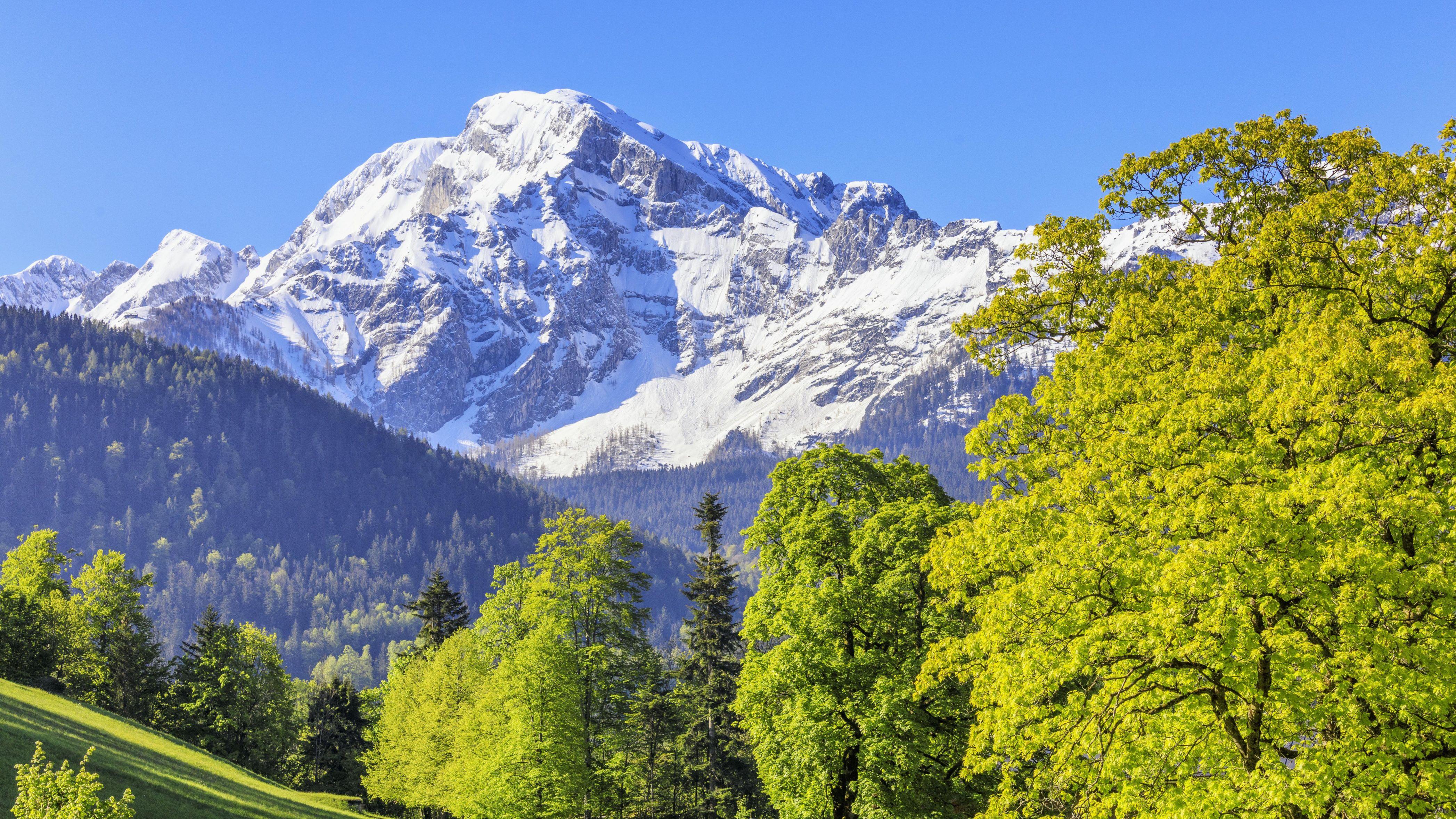 Blick von Oberau über dem Tal der Königseeache hinauf zum tief verschneiten Hohen Göll, Berchtesgadener Alpen.