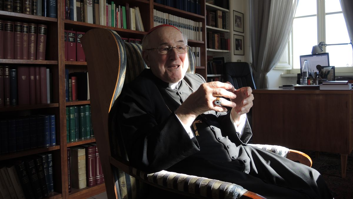 Kardinal Walter Brandmüller in seinem Arbeitszimmer vor einem Bücherregal.