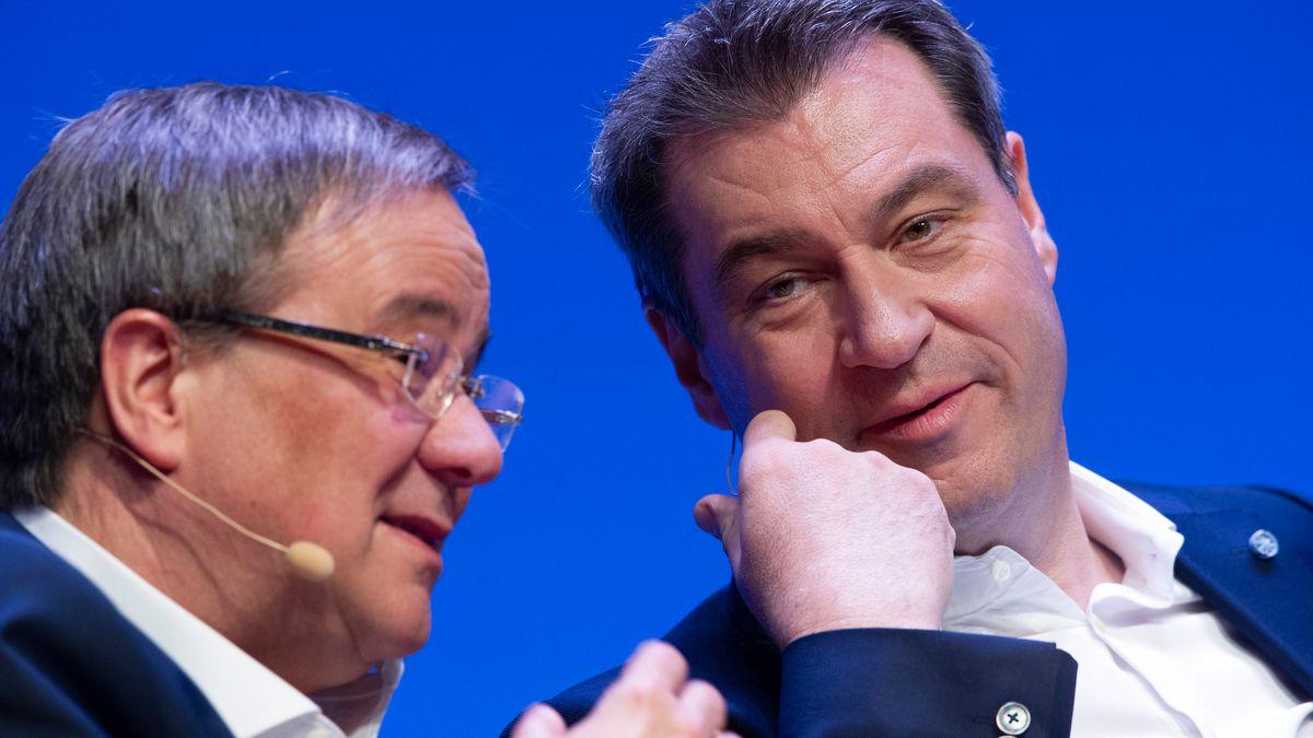 Armin Laschet (CDU) und Markus Söder (CSU) - Archivbild vom 14.4.2021