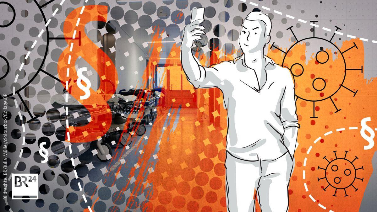 Gezeichnetes Bild zeigt Mann, der sich mit einem Handy selbst filmt. Im Hintergrund ist das Bild eines Krankenhaus-Flurs zu sehen.