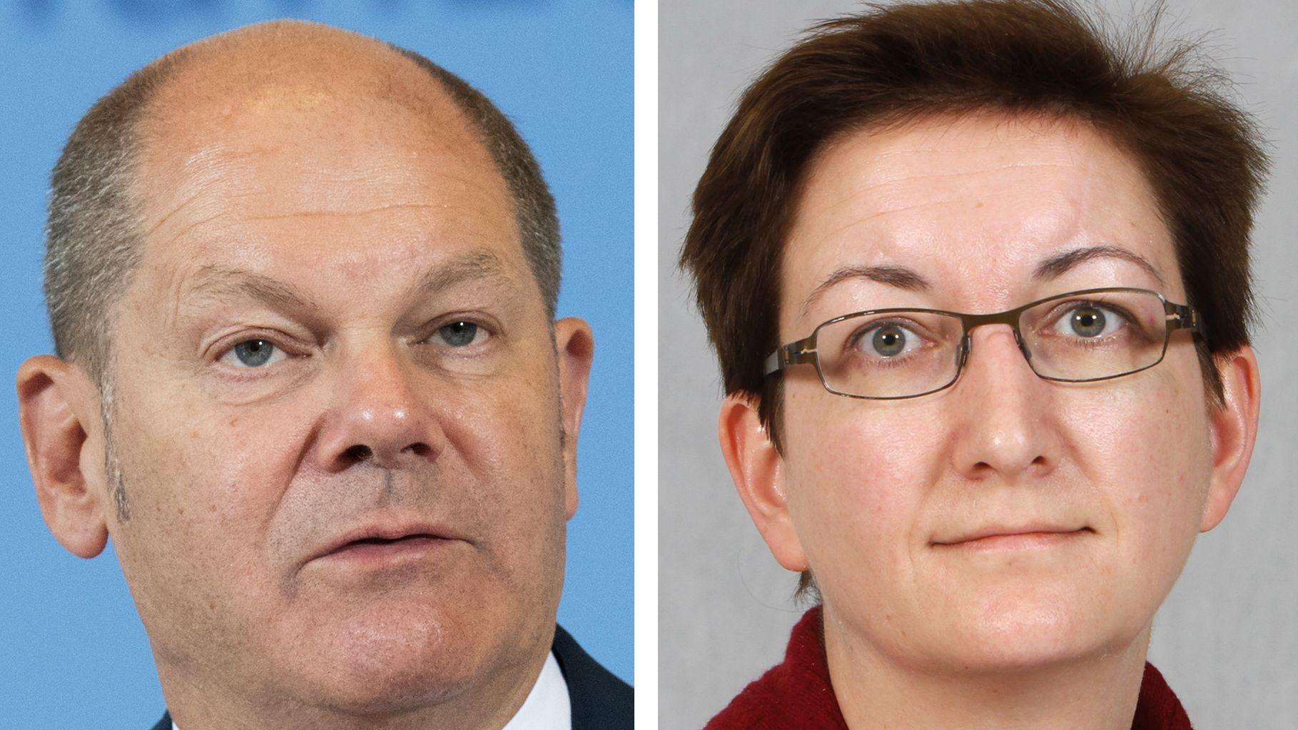 Die Bildkombo zeigt Bundesfinanzminister Olaf Scholz und die brandenburger Landtagsabgeordnete Klara Geywitz.