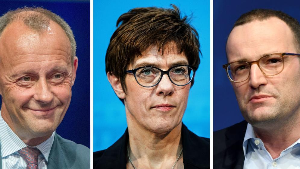 Porträts von Friedrich Merz, Annegret Kramp-Karrenbauer, Jens Spahn | Bild:Montage dpa Bildfunk
