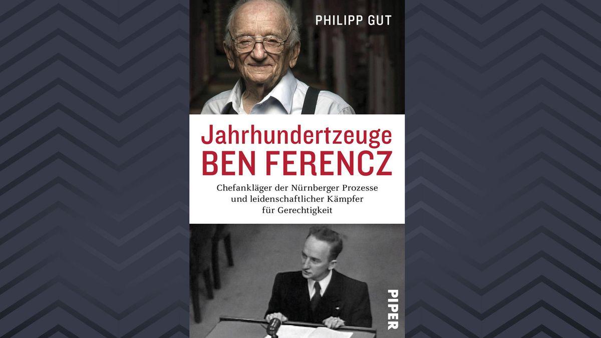 """Auf dem Cover der Biografie """"Jahrhundertzeuge Ben Ferencz"""" ist Ben Ferencz als junger Ankläger und mit einer aktuellen Aufnahme zu sehen"""