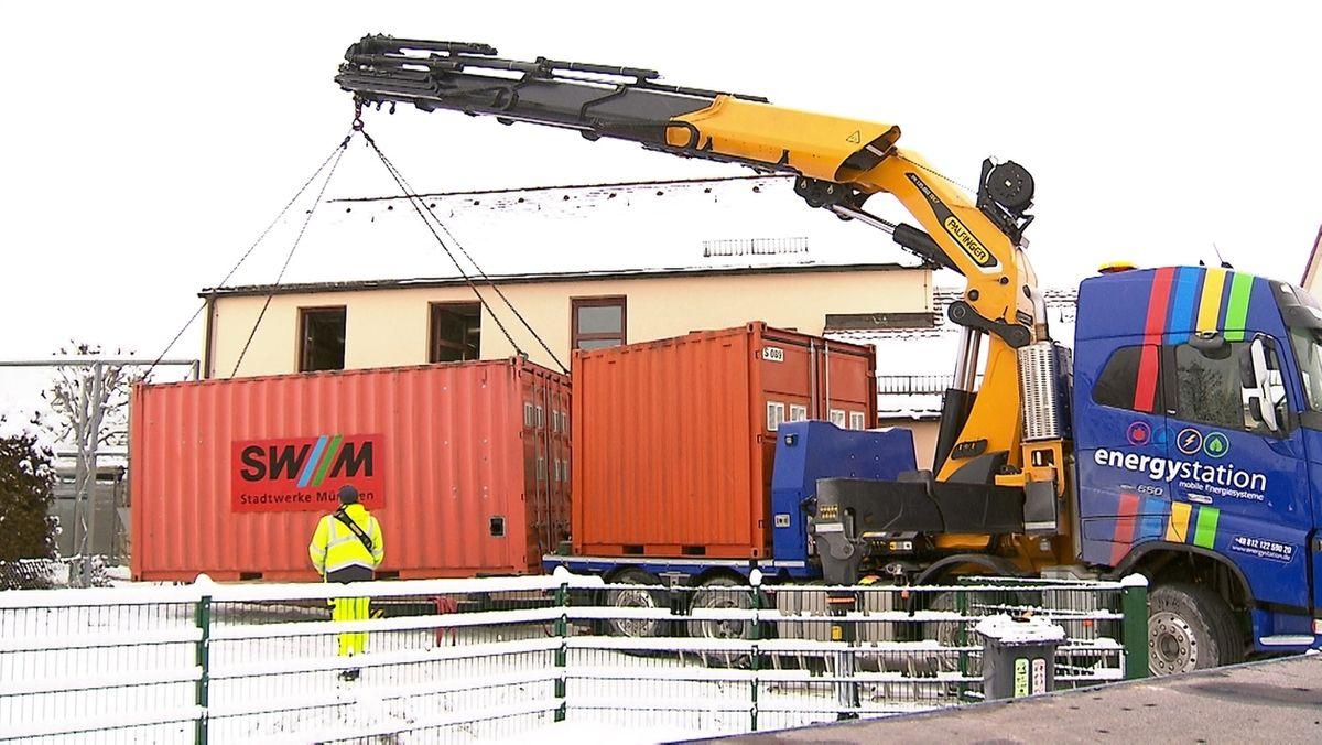 Anlieferung der Heizcontainer in Nürnberg