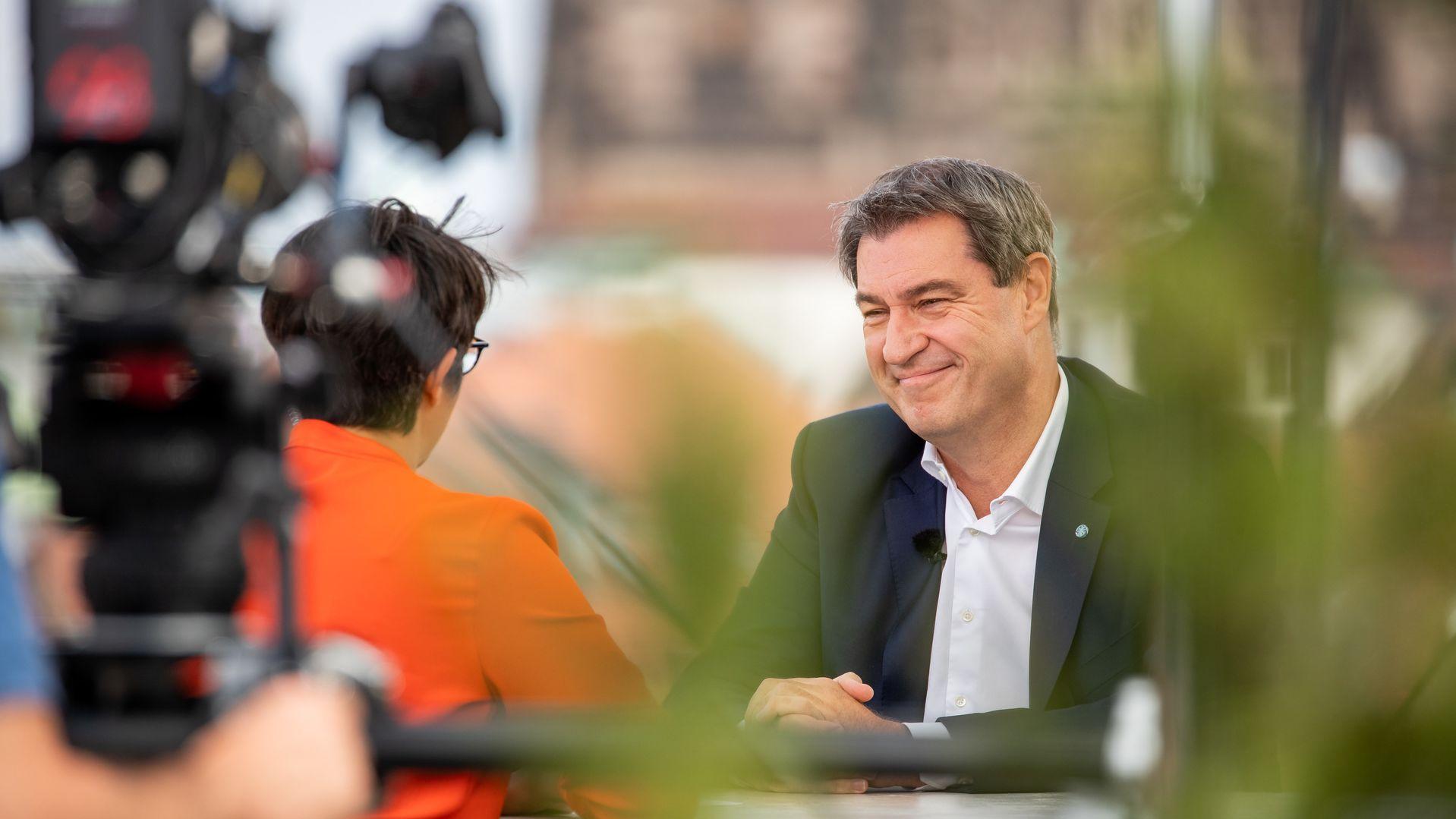 CSU-Chef Markus Söder im ZDF-Sommerinterview mit Moderatorin Shakuntala Banerjee