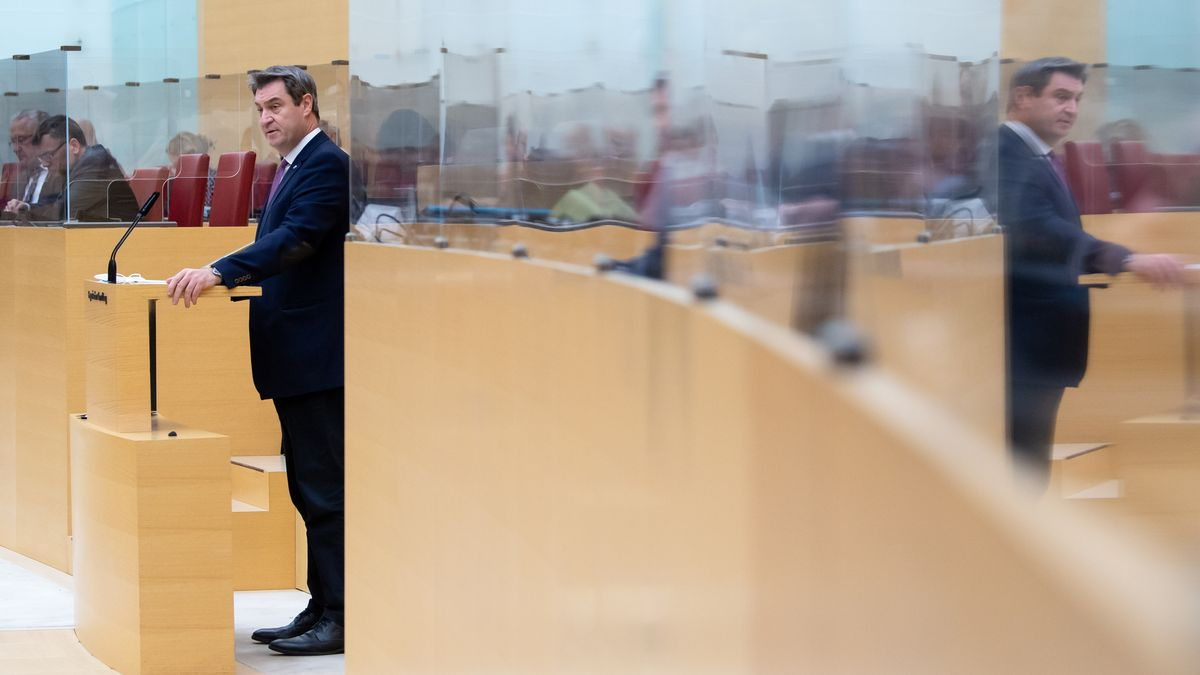 Bayerns Ministerpräsident Markus Söder (CSU) bei seiner Regierungserklärung am 08.01.2021 im Landtag