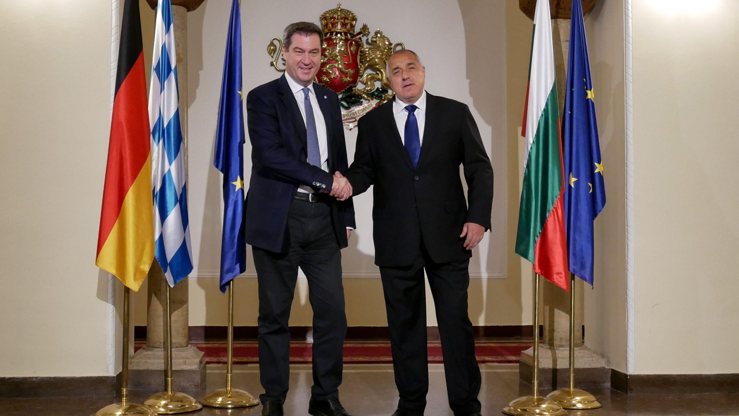 Der CSU-Vorsitzende und bayerische Ministerpräsident Markus Söder trifft den  bulgarischen Regierungschef Boiko Borissow