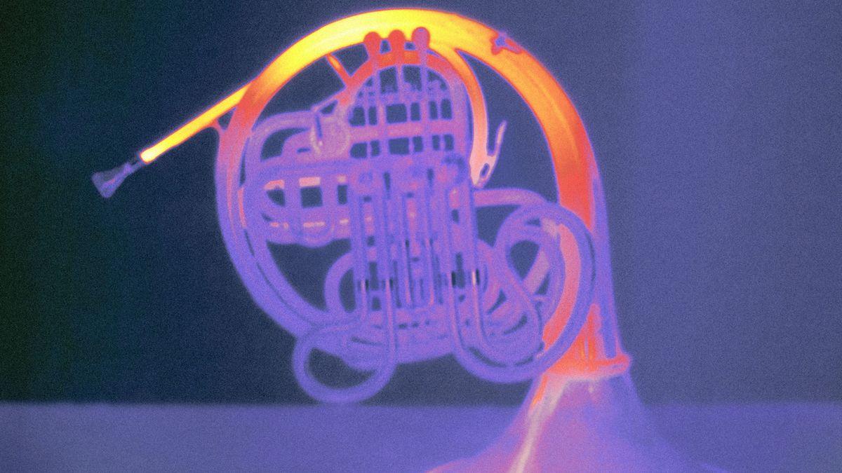 Das Wärmebild zeigt, wo das Horn beim Musizieren besonders beansprucht und entsprechend warm wird.