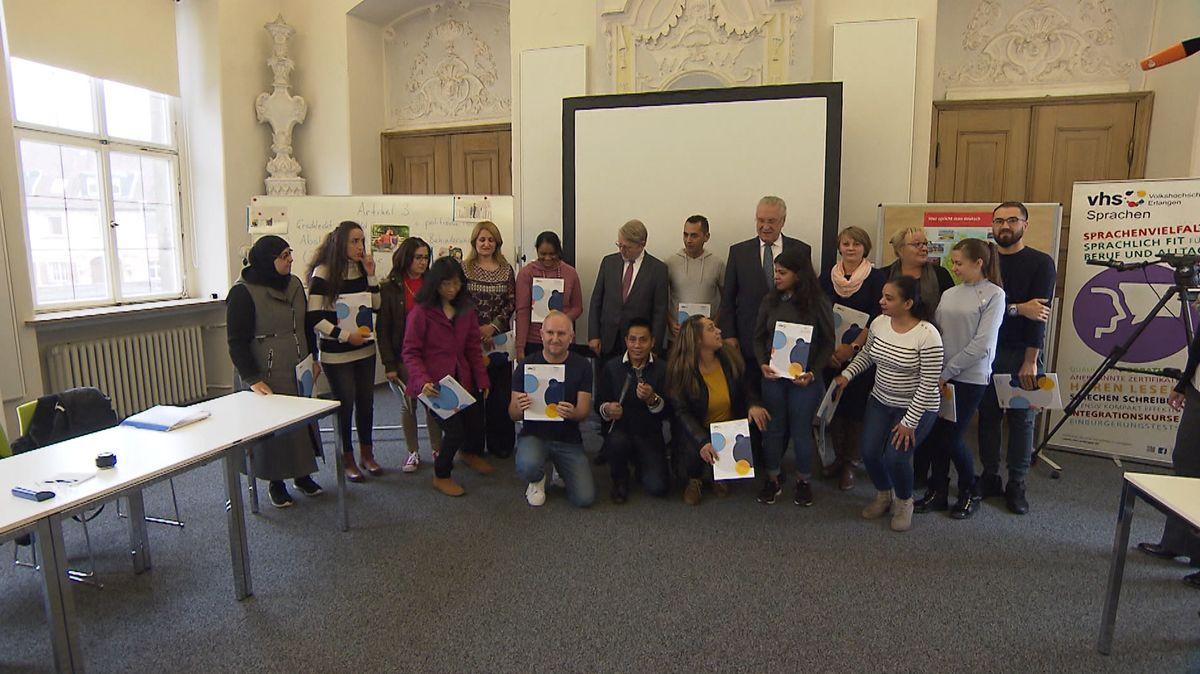 Teilnehmer des Integrationskurses an der vhs Erlangen