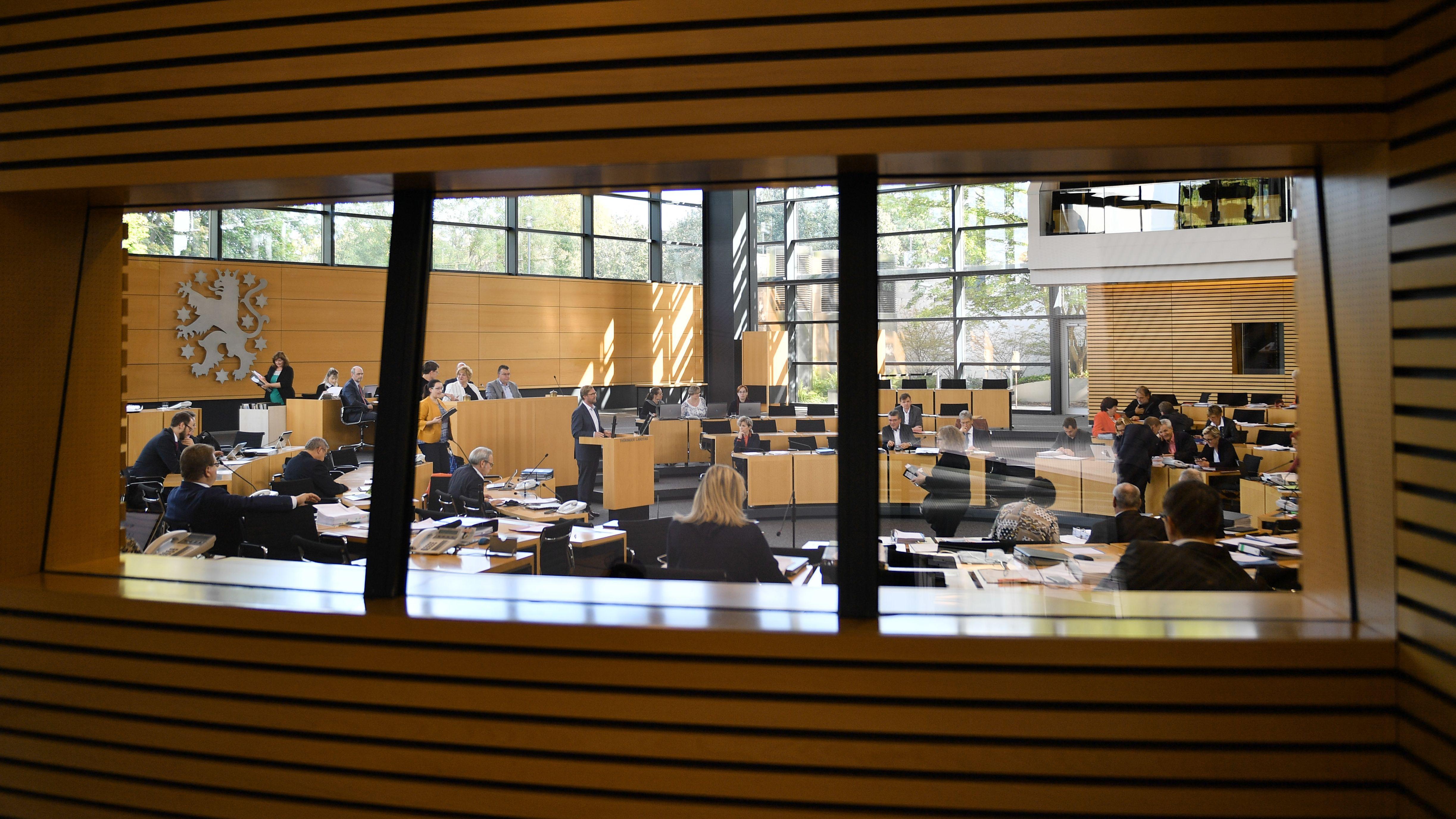 Blick in den Plenarsaal des Thüringer Landtages.