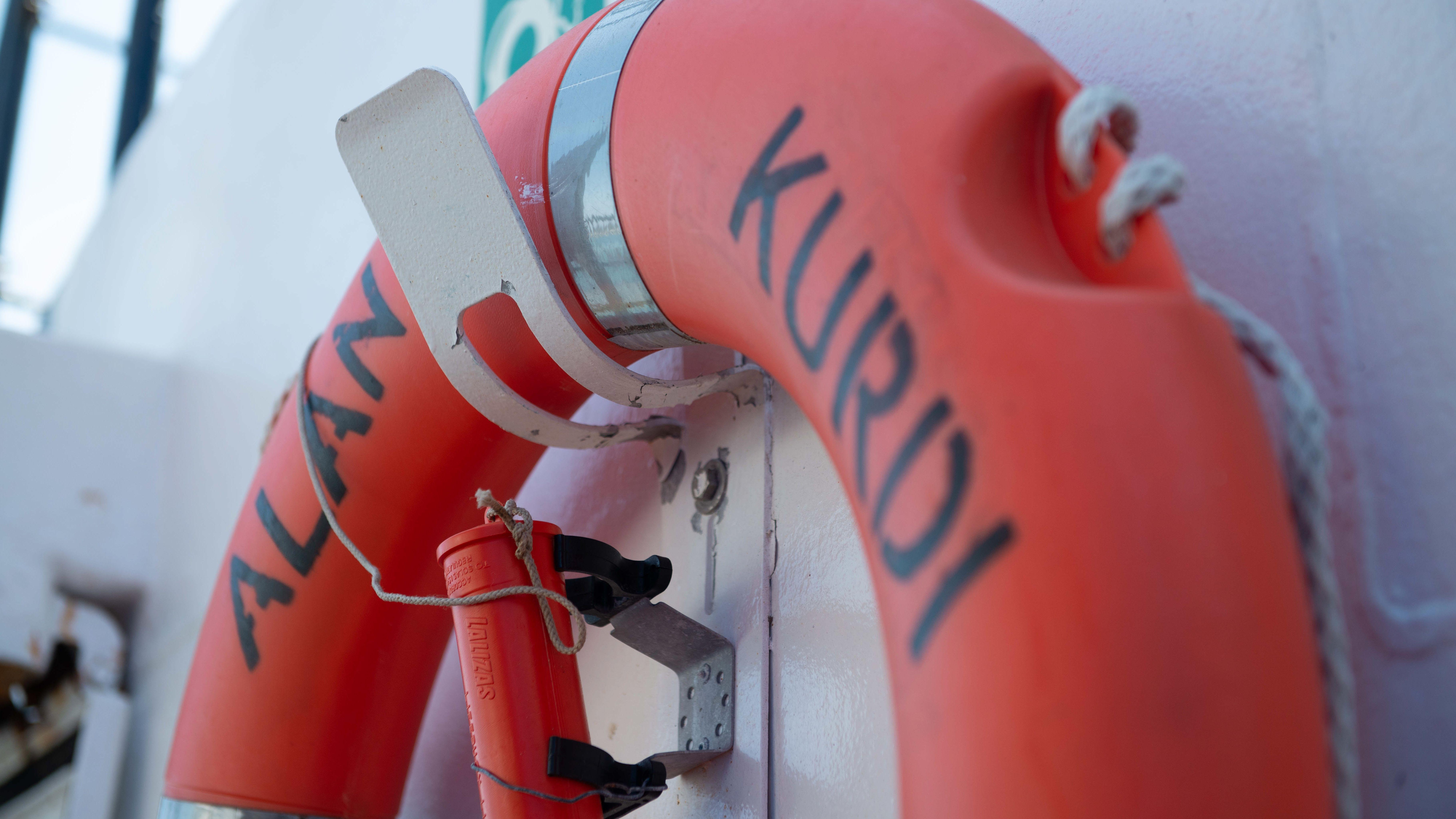 """Rettungsring auf der """"Alan Kurdi"""""""