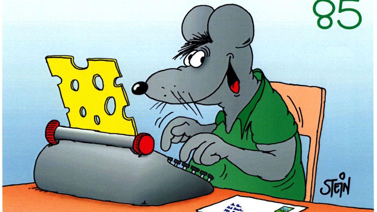 Uli Steins Lieblingsmotiv: eine Maus, hier auf einer Schweizer Briefmarke.