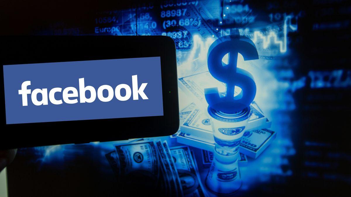 Facebook-Logo neben einer Illustration mit Geld und Dollar-Zeichen