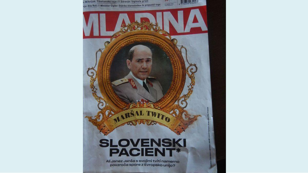 Die Titelseite zeigt Ministerpräsident Janez Janša mit in einer