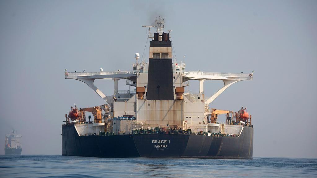 Der Supertanker ''Grace 1'' liegt in den Gewässern von Gibraltar
