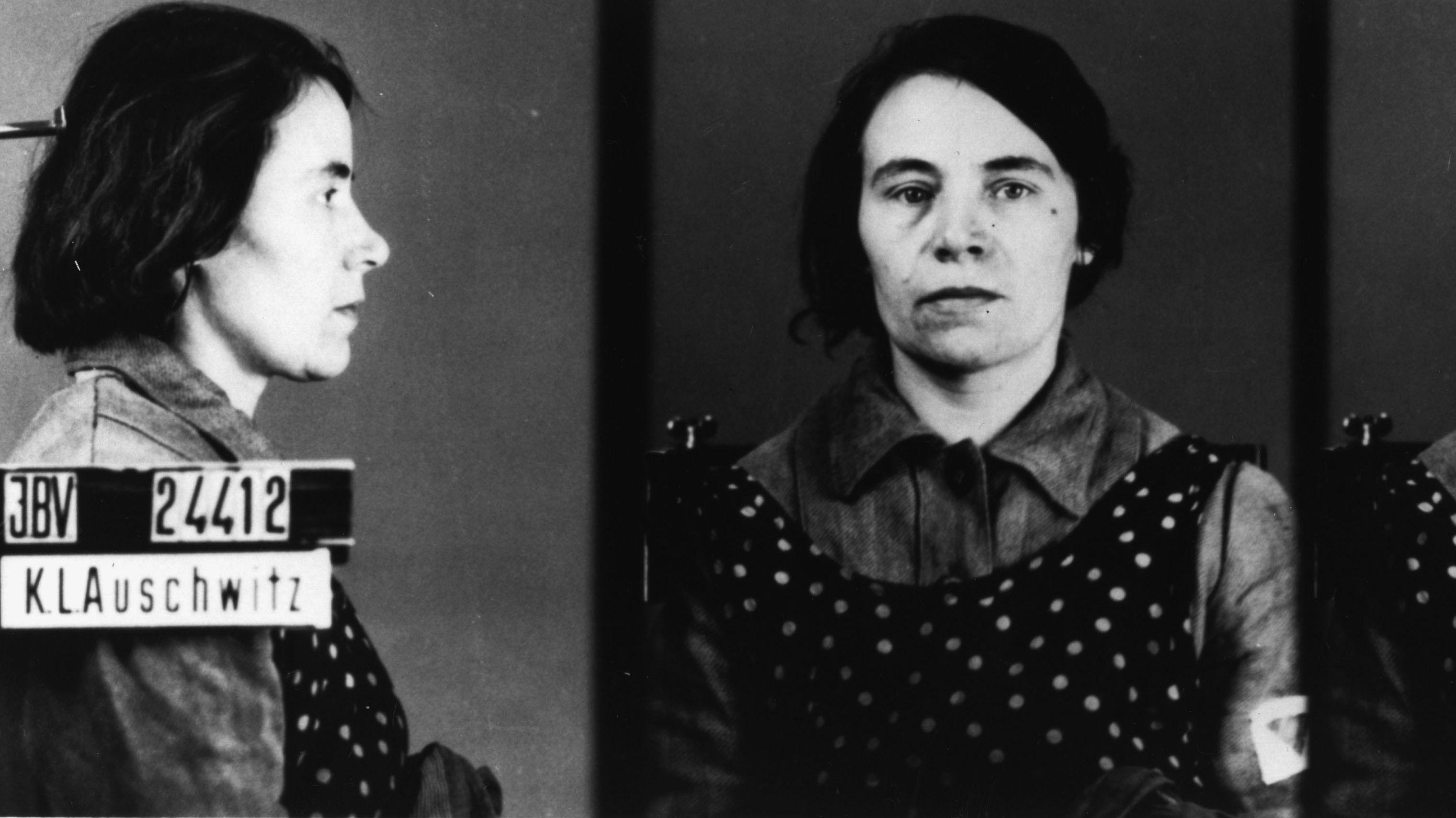 Erkennungsdienstliches Foto eines weiblichen Häftlings (Mitglied der Zeugen Jehovas), aus dem KZ-Auschwitz um 1943.