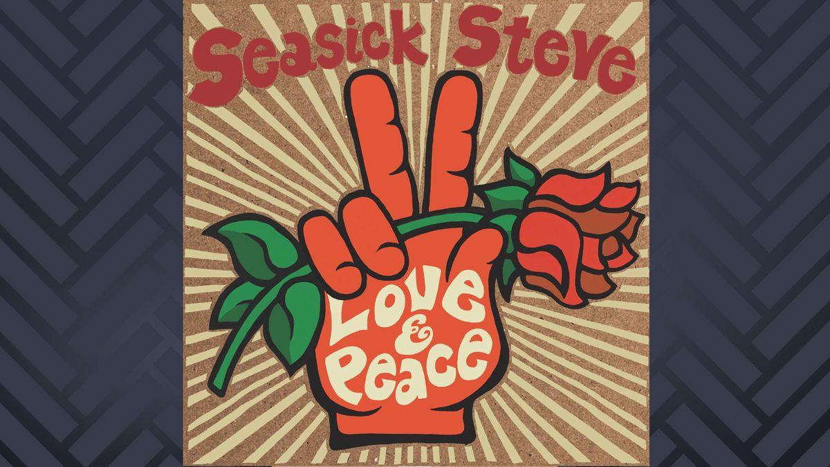 """Albumcover """"Love & Peace"""" von Seasick Steve: Gemalte rote Hand mit Victory-Zeichen und Blume in der Hand"""