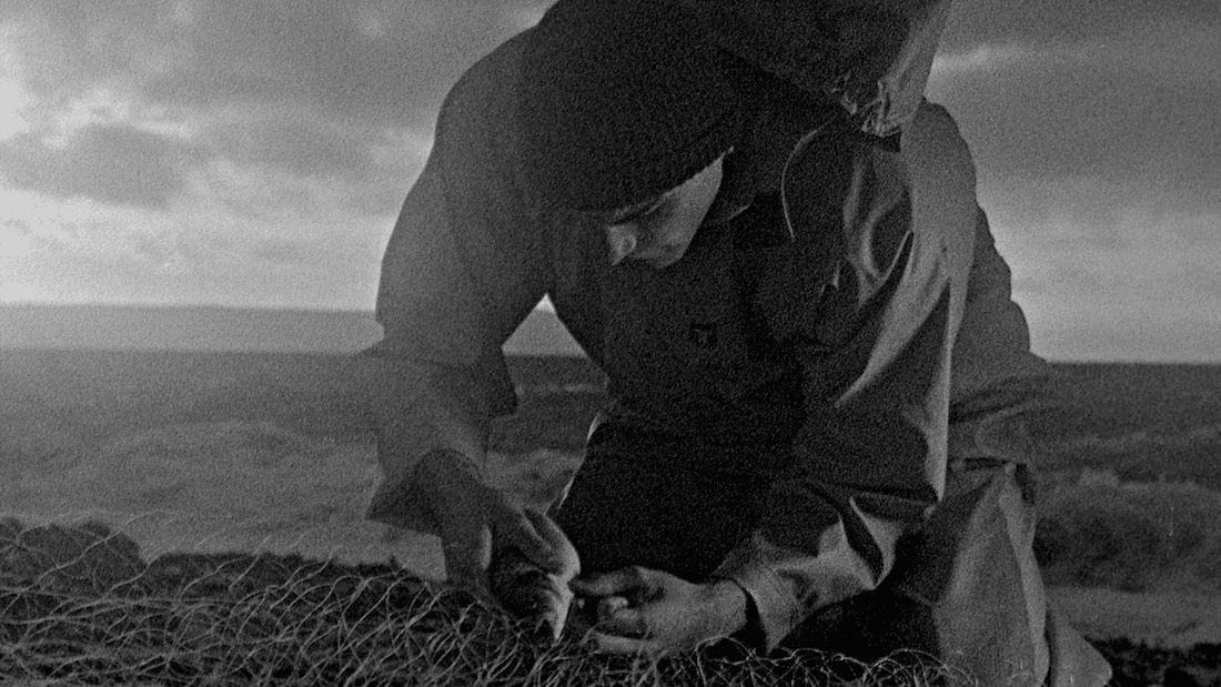 """Ein Fischer löst einen gefangenen Fisch aus dem Netz, aufgenommen in grobkörnigem Schwarz-Weiß,  Filmstill aus """"Bait"""""""