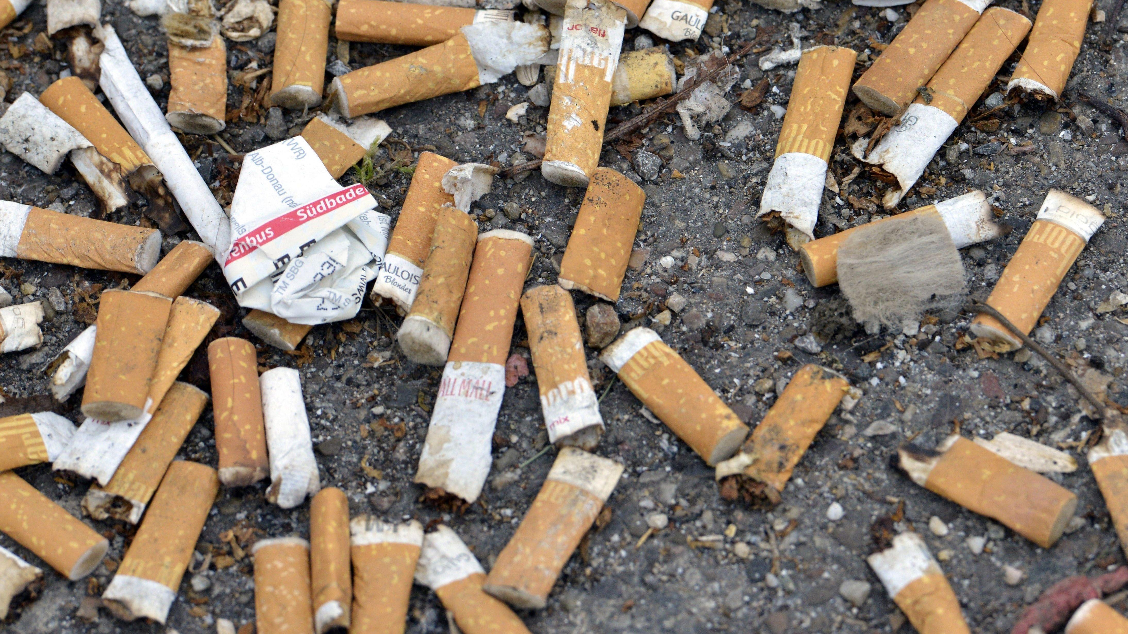 Weggeworfene Zigarettenstummel auf einer Straße