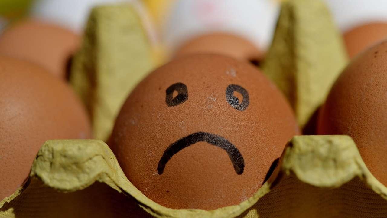 Ein Ei, auf das ein trauriges Gesicht gemalt wurde. Es steht für Lebensmittelskandale wie Bayern-Ei.