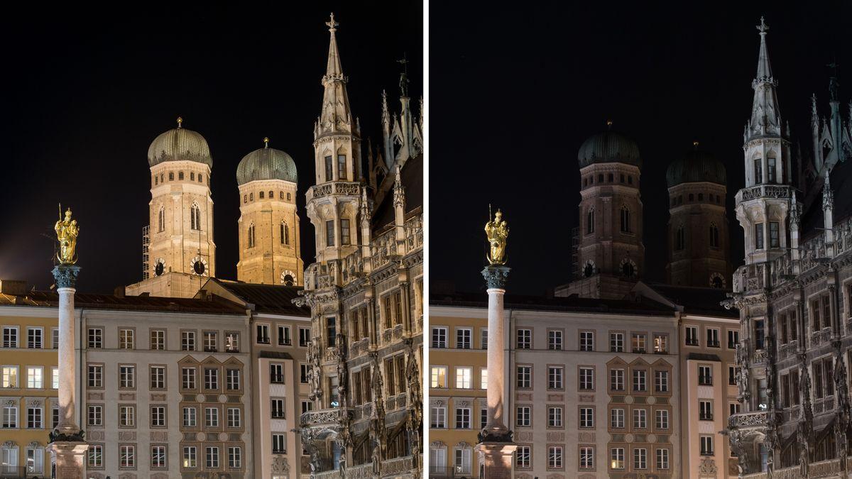 Die Frauenkirche und das Rathaus in München beleuchtet (links) und während der Earth Hour 2020 unbeleuchtet (rechts).
