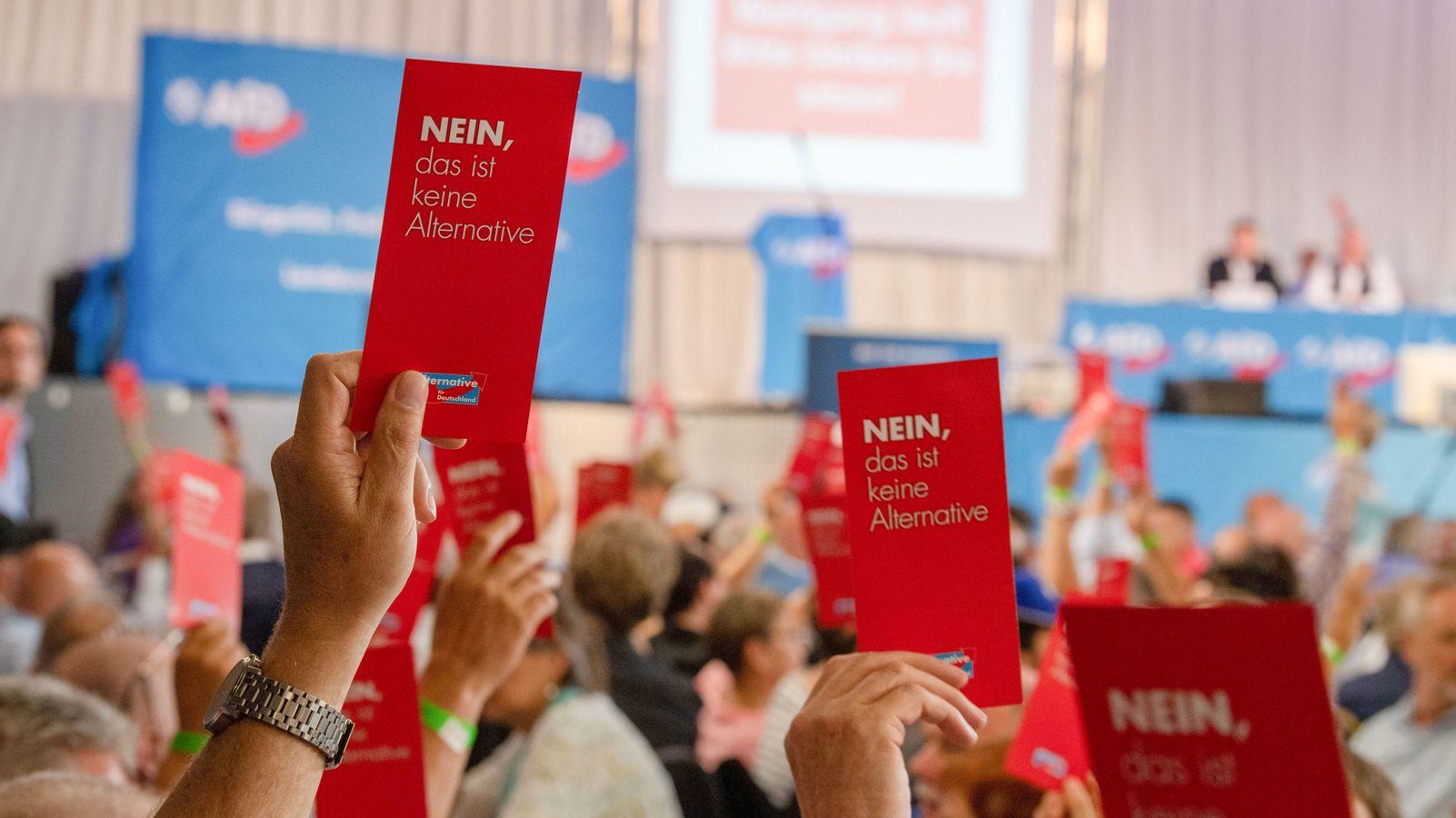 In Greding fand heute ein Landesparteitag der AfD statt. Teile der Parteibasis hatten diesen Sonderparteitag angesichts interner Streitigkeiten gefordert. Anhänger des sogenannten Flügels und