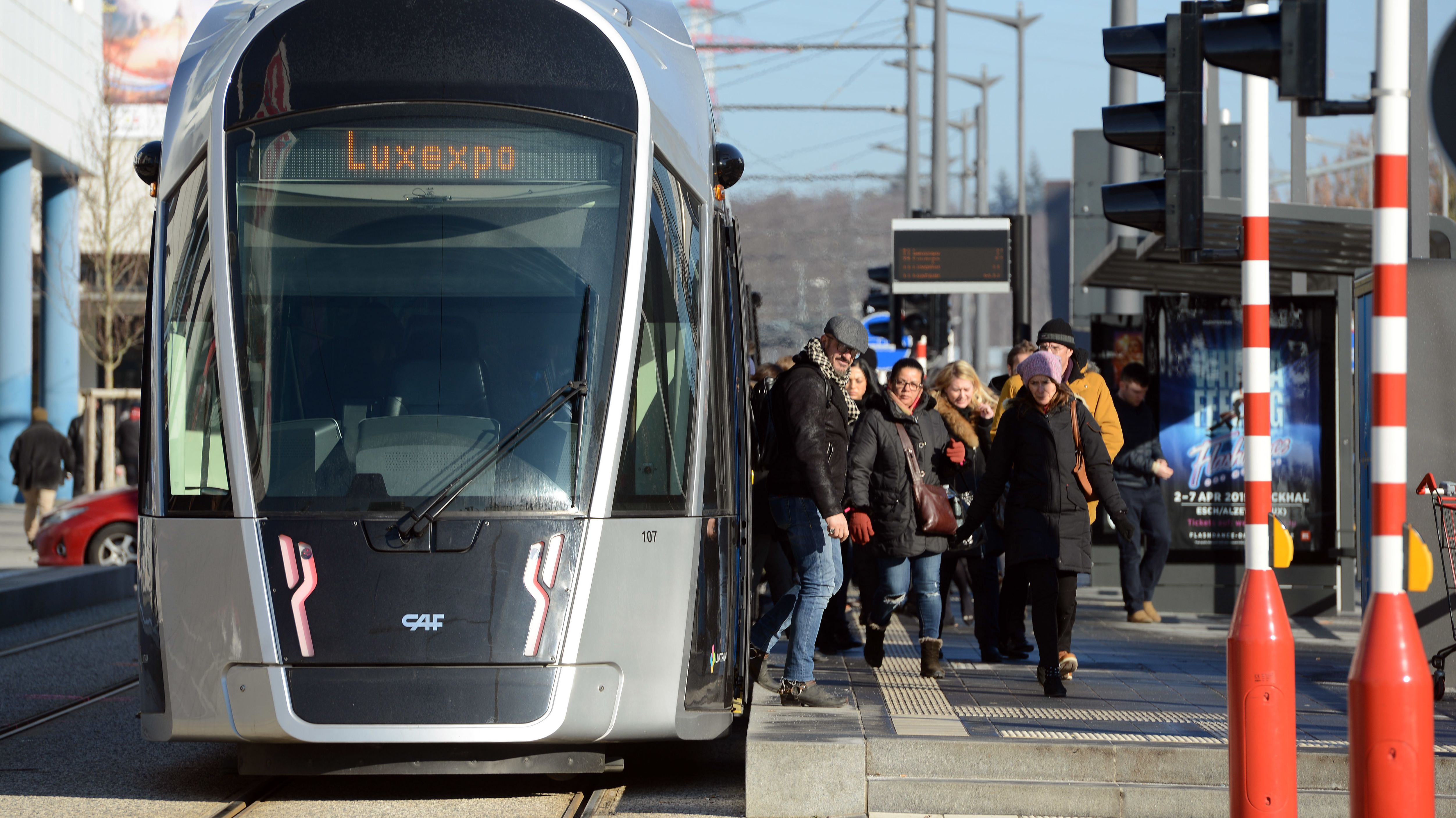 Straßenbahn im Luxemburger Bankenviertel Kirchberg