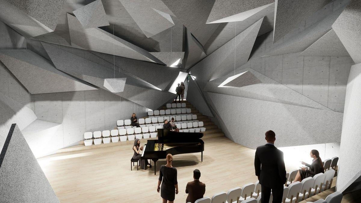 Mächtige, graue Granitsplitter hängen von der Decke des Konzertsaals, die für optimale akustische Streuung sorgen sollen.