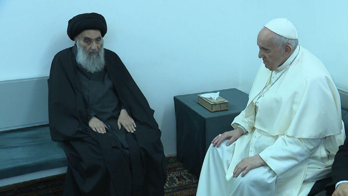 In Nadschaf ist Papst Franziskus vom obersten Schiitenführer des Iraks, Ali al-Sistani empfangen worden.