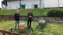 Tobias C. Auer von der Spvgg Greuther Fürth  und Imker Bienenkästen im Fürther Stadion vor Bienenkästen