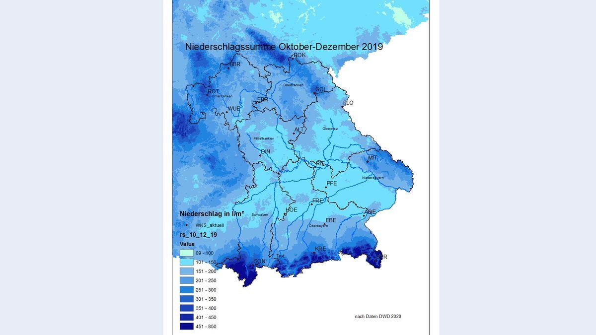 Niederschlag von Oktober bis Dezember 2019