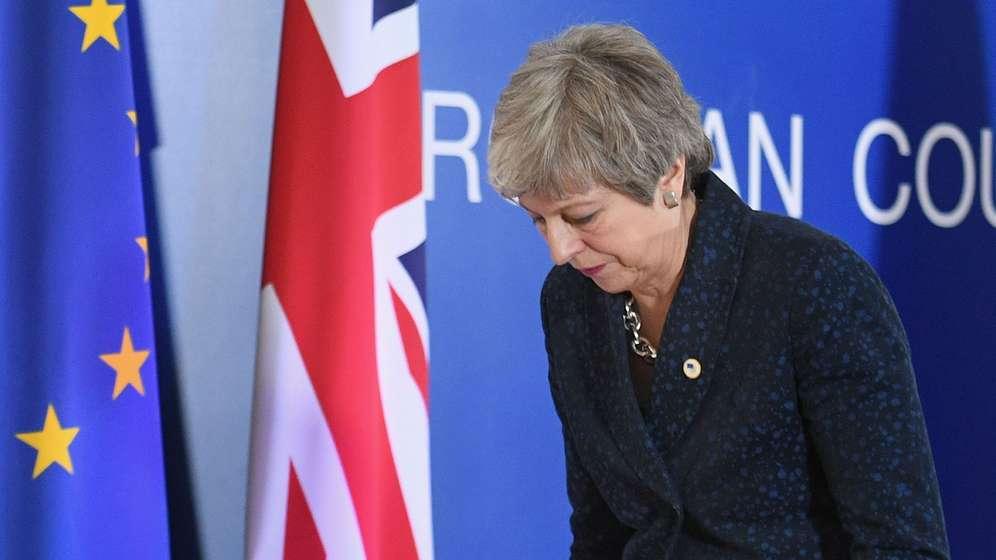 Die britische Premierministerin Theresa May beim EU-Gipfel in Brüssel. | Bild:picture alliance / empics / Stefan Rousseau