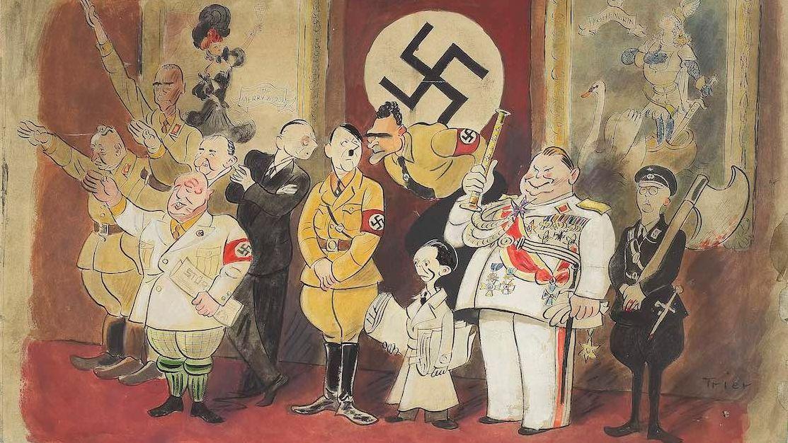 Ein gezeichnetes Gruppenbild von Walter Trier: Hitler und seine wichtigesten Gefolgsleute