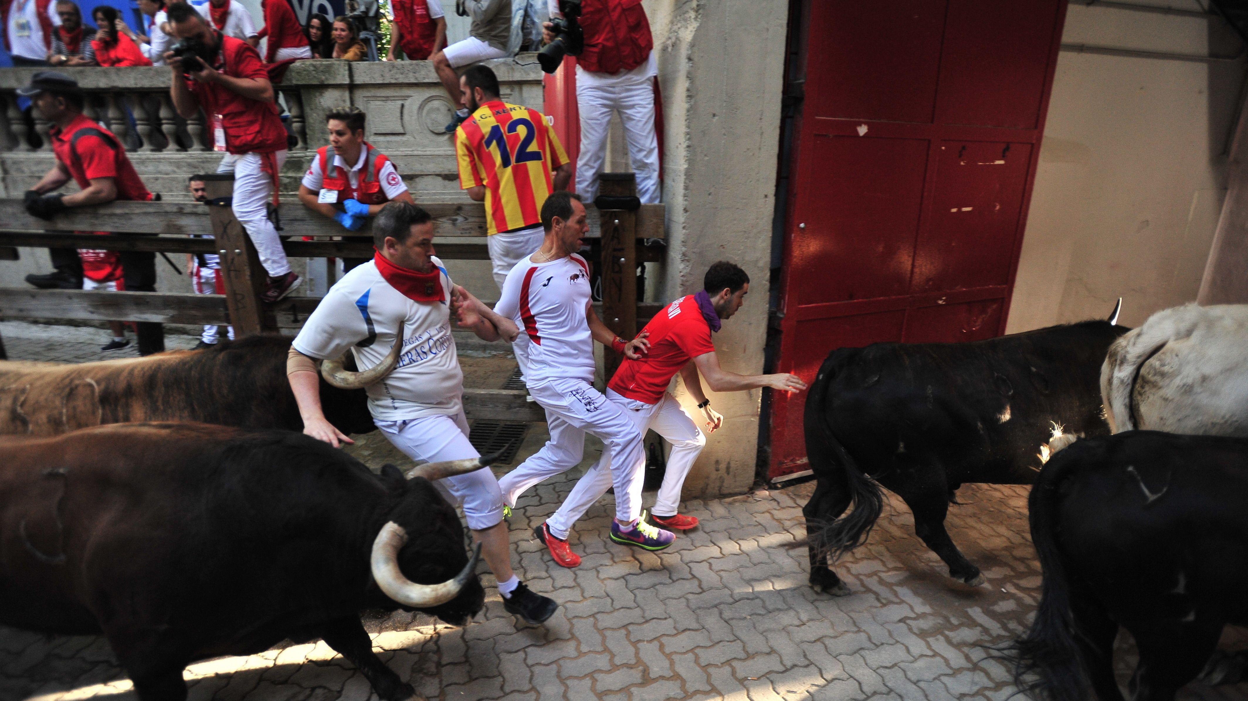 Stiertreiben in Pamplona, Spanien