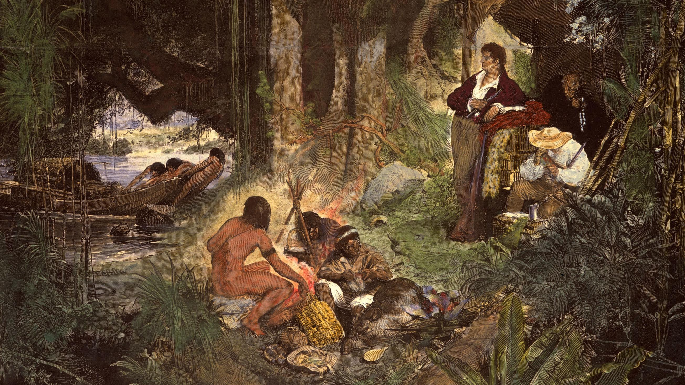 """Ausschnitt aus dem Gemälde """"Humboldt und Aime Bonpland am Orinoko"""""""