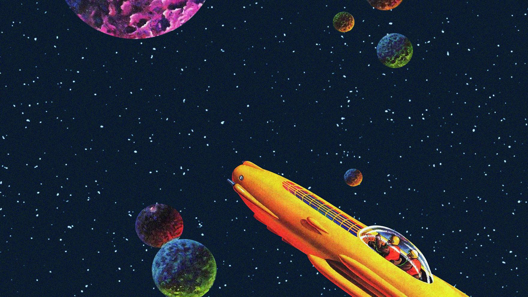 Kosmos mit Planeten und Raumschiff:Motiv für die Brechtnacht in Augsburg