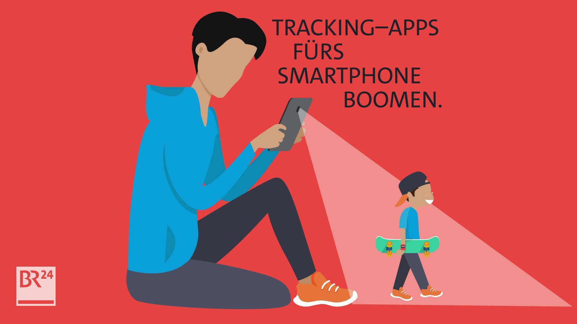 Ein Vater verfolgt auf dem Smartphone, wo sich sein Kind aufhält.