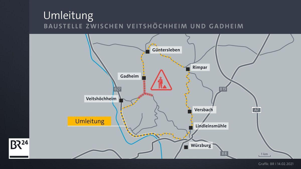 Grafik der Baustelle in der Nähe von Würzburg.