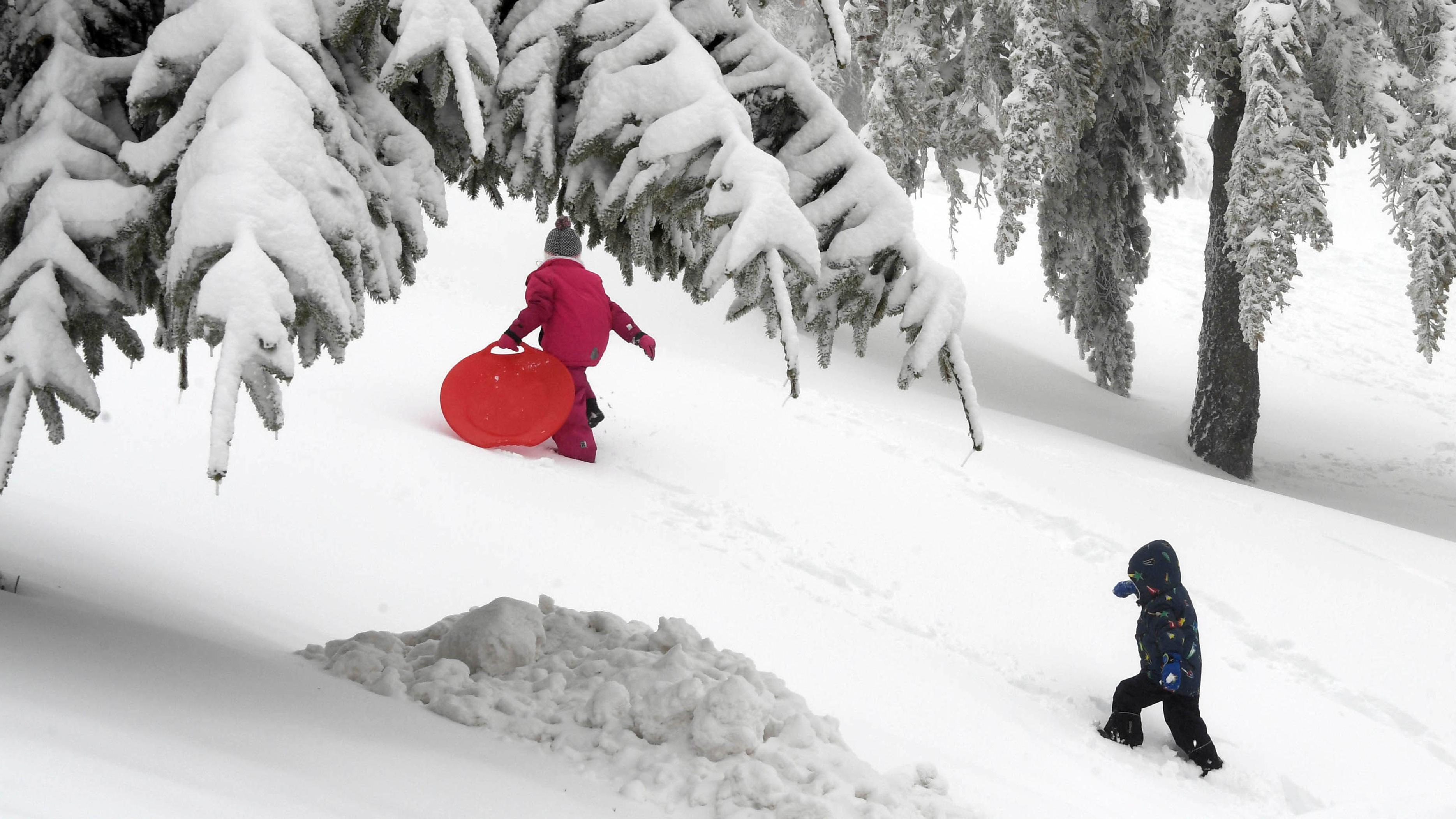 Spielende Kinder im Schnee