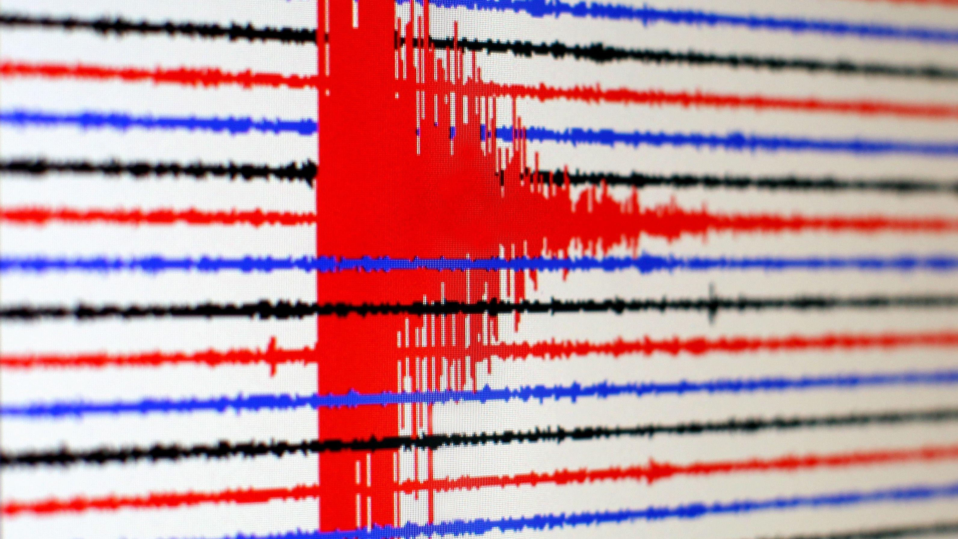 Ein Seismograph zeichnet eine Erderschütterung auf (Symbolbild)