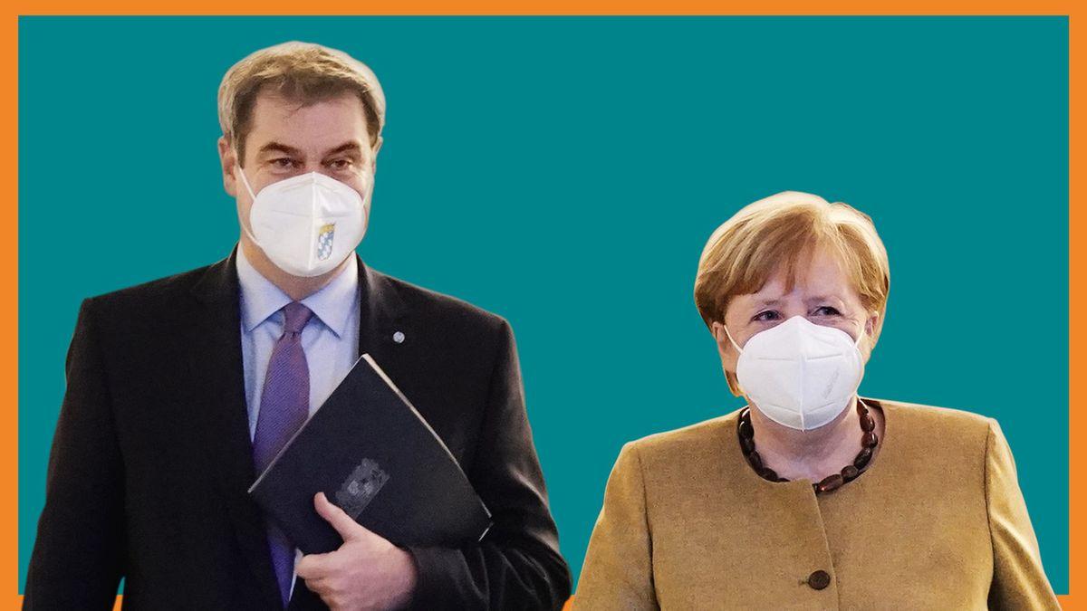 Markus Söder und Angela Merkel mit FFP2-Masken