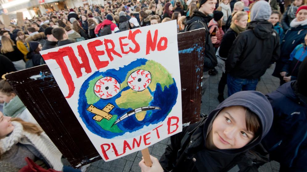 Schüler demonstrieren für eine bessere Klimapolitik | Bild:dpa-Bildfunk/Julian Stratenschulte